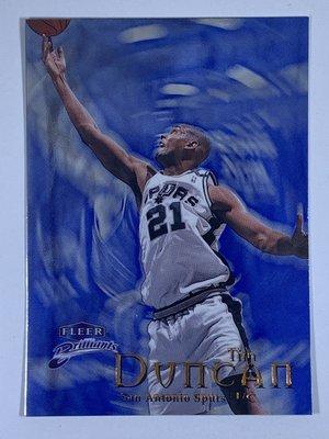 1998-99 Fleer Brilliants Blue #1 Tim Duncan Spurs 2nd Year