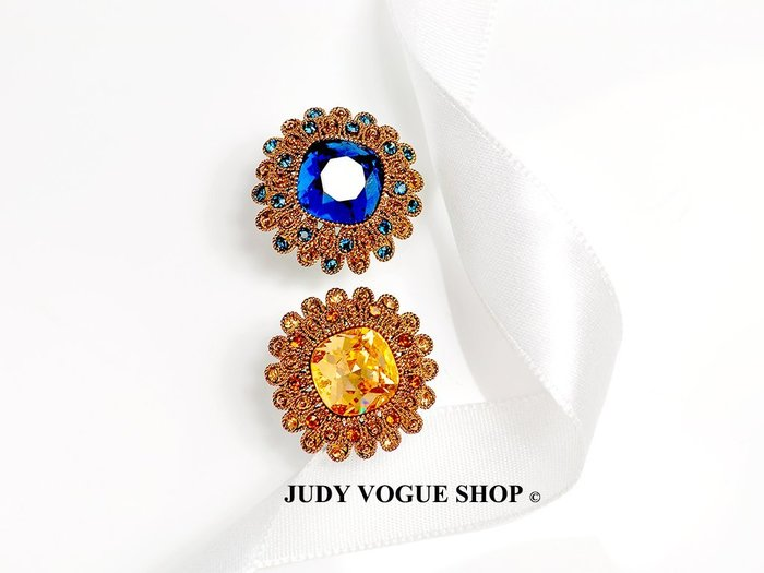 韓國 耳環 復古雛菊耳環 時尚宮廷風格 施華洛枕形鑲鑽 JUDY VOGUE SHOP【JES-0015】
