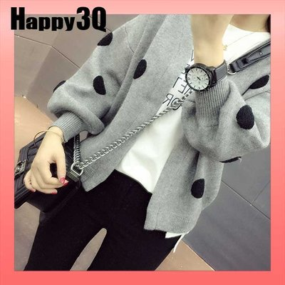 可愛滿版點點長袖寬鬆開襟毛衣V領針織外套-粉/白/橘黃/灰/黑S-L【AAA0893】預購