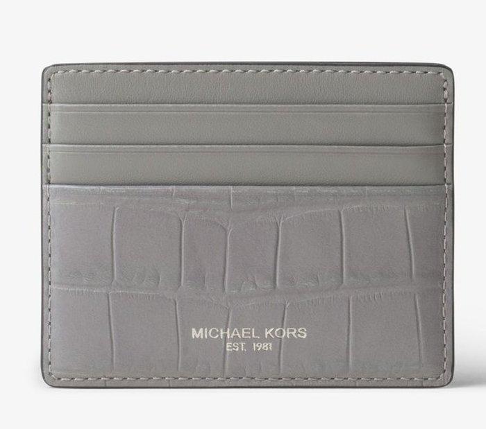 全新美國精品名牌 Michael Kors Men MK 灰色經典款皮革名片夾信用,附原廠禮盒,低價起標無底價!免運費!