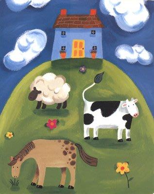 三幅一組油畫布  長頸鹿乳牛獅子  畫芯/畫布/30X40☺暖暖屋☺傢居藝術館