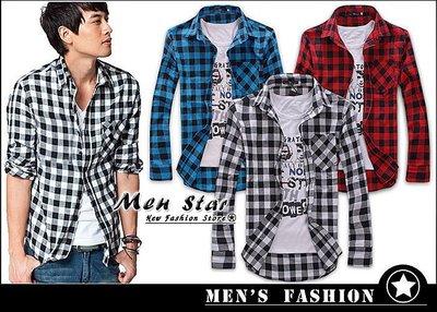 【Men Star】免運費 韓版百搭格子襯衫 藍色襯衫 紅色襯衫 拚色襯衫 男 女 媲美 stage uniqlo ck