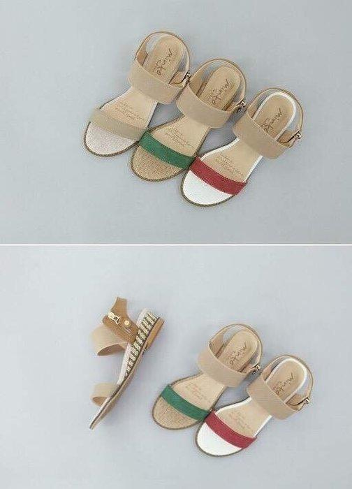 *KR Garden* 韓國連線 三色編織底小楔型涼鞋 現貨紅24