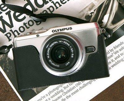 theFoto Olympus E-P3 (EP3) 義大利認證牛皮 真皮 相機皮套 (黑色)