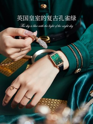 西西韓國專賣~鄭爽代言同款小眾輕奢手錶女士簡約氣質小方綠錶學生防水正品名牌