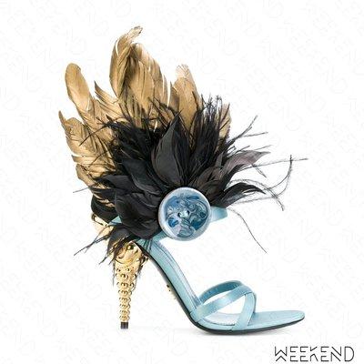 【WEEKEND】PRADA 羽毛 高跟 涼鞋 淺藍 藍色 115mm 18春夏新款