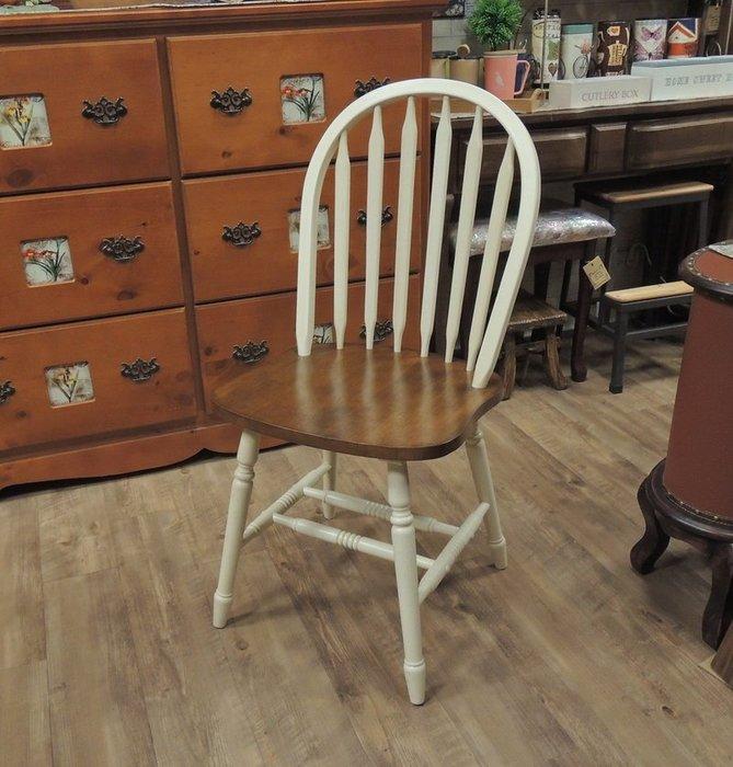 實木鄉村風餐椅 歐式餐椅 白色餐椅 雙色椅子 全實木餐椅 靠背椅 餐桌椅子 雙色溫莎椅 溫莎餐椅 美觀、結實、舒適好坐