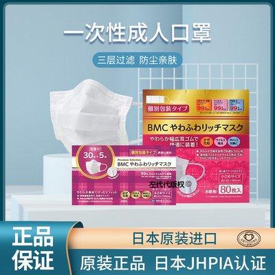 【台灣免運】日本BMC成人透氣超立體超快適薄款透氣款防御口罩獨立裝80枚