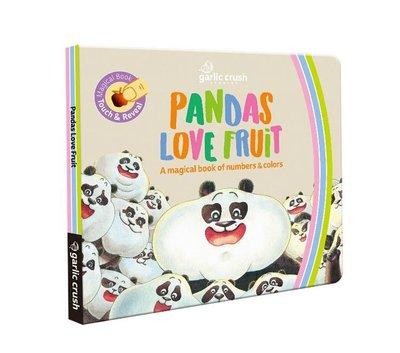 繪本館~妙蒜工作室~Pandas Love Fruit 熊貓黑白猜冷藏(英文+中文雙語幼兒紙板書)繪本任挑10本以上免運