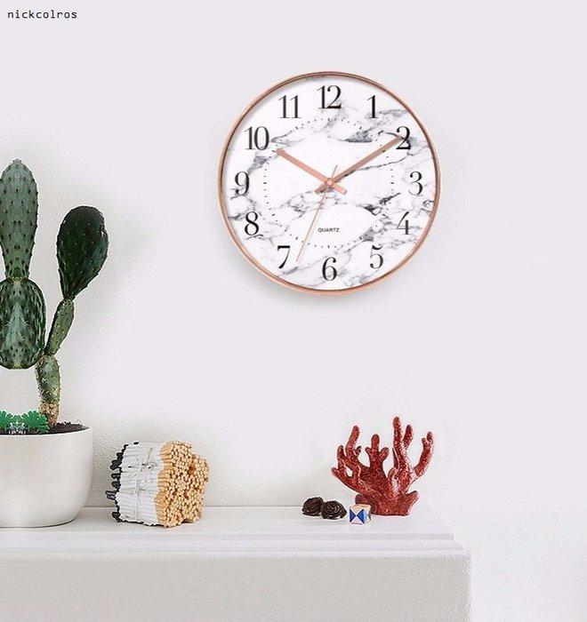 尼克卡樂斯~北歐大理石紋簡約玫瑰金靜音時鐘 北歐風掛鐘 歐洲鄉村風時鐘 客廳時鐘 臥室時鐘 壁掛鐘