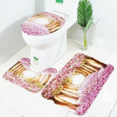 新品粉色花樹歐美印花地墊三件套浴室防滑地毯套裝