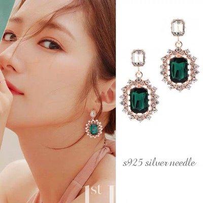 韓 氣質 復古 韓劇 她的私生活 朴敏英 同款 寶石 垂墜式 s925抗敏感 耳針 耳環