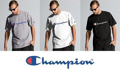 [ Y.U ] 美版 冠軍 Champion 經典 草寫 Logo 短T 短袖 黑灰白 三色 彰化縣