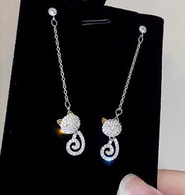 【藏私好物】新款少女純銀針貓系耳環立體貓咪耳釘耳墜長款韓國韓版韓式