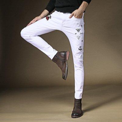 寬管褲 3D褲 窄管褲 休閒褲 白色潮牌牛仔褲男修身 繡花 褲子 刺繡 牛仔褲男潮時尚 小腳 褲男