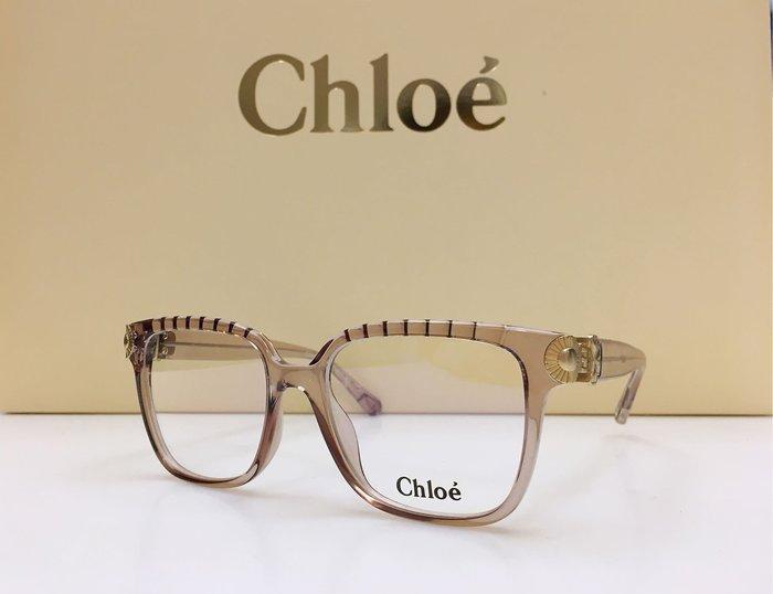 Chloe 新款透明淡紫色大方框眼鏡 立體雕花鑲嵌 CE2732 617 53 華麗精品設計 義大利製 公司貨