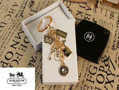 (現貨)COACH 正品 專櫃限量版 女王皇冠 寶石 鑽石 土豪金 鑰匙扣 高端大氣 箱包掛件 吊飾配件組合 -情人禮物