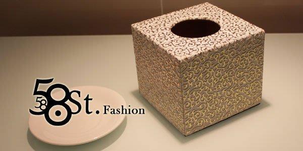 【58街】設計款式「白色金紋皮革製品面紙盒、紙巾盒,滾筒式紙巾用」。AF-090