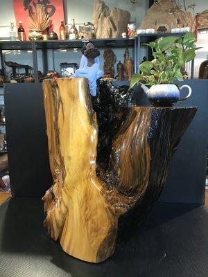 【 檜人檜語 】重油味 香山材黑皮黃檜根 原木枱1