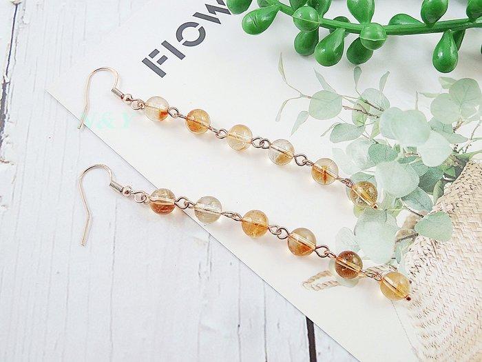 【N&Y】天然黃水晶 流蘇長款古典氣質耳環EA99☆抗敏耳勾可改耳夾