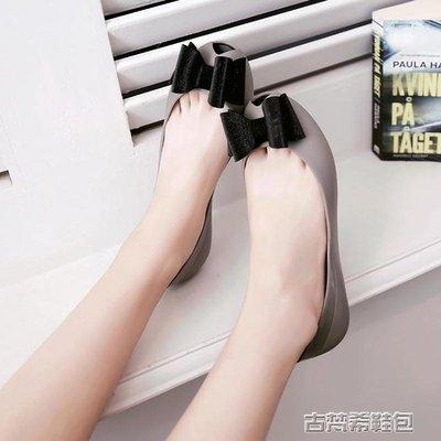 韓版平底涼鞋果凍鞋蝴蝶結少女魚嘴鏤空水晶度假沙灘時尚膠鞋