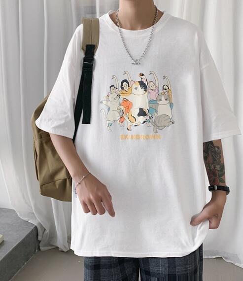 FINDSENSE X 男款 時尚 寬鬆舒適日系男裝寬 日系中性休閑情侶大碼原宿港風短袖T恤男