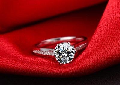 3克拉 經典六爪豪華款18K白金鑽戒(莫桑石 摩星鑽 鑽石 裸石) GIA驗證 鑽石品質