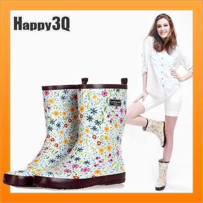 中筒雨靴防水雨鞋天然橡膠碎花印花女鞋百搭約會-米/粉/花34-39【AAA2311】預購