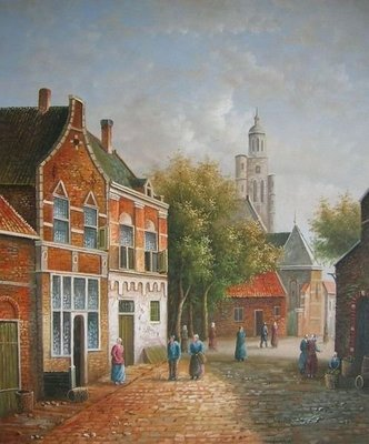 【聲聲慢古典油畫畫廊】☆純手工油畫—荷蘭景1
