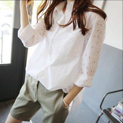 艾莉小舖~~2015韓版春裝新款女裝蝙蝠長袖鏤空寬鬆襯衫襯衣--預購