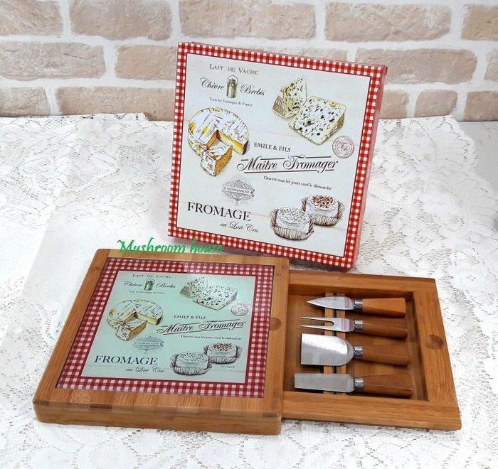 點點蘑菇屋{砧板}義大利Easy Life Design玻璃面竹製起司切板抽屜內含4把起司刀具組 乳酪 麵包切板