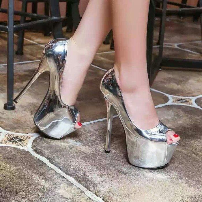 防水台 夜店 表演 恨天高 大尺碼 超高跟凉鞋 細跟女鞋33小碼鞋 貨號1141050