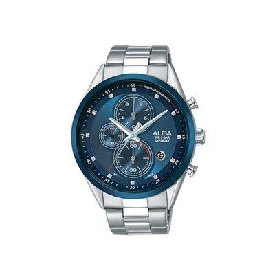 可議價「1958鐘錶城」ALBA雅柏 SPECIAL 男 廣告款三眼計時 石英腕錶(AM3461X1) 43mm