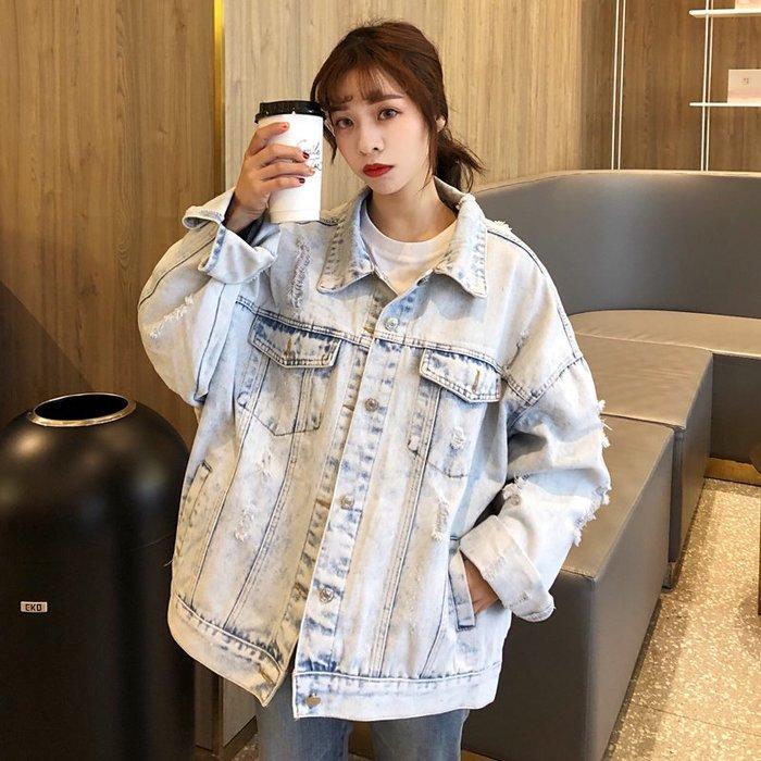 小香風 短袖T恤 時尚穿搭 韓版 學院風bf寬松做舊破洞中長款長袖牛仔外套夾克女