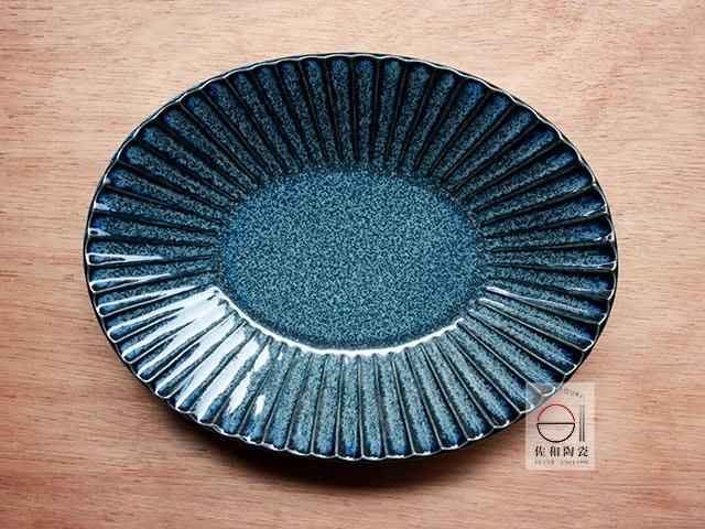 +佐和陶瓷餐具批發+【XL070913-4寶藍刻十草10長皿-日本製】日本製 長皿 盤 青菜盤 主食盤 宴客盤 餐具