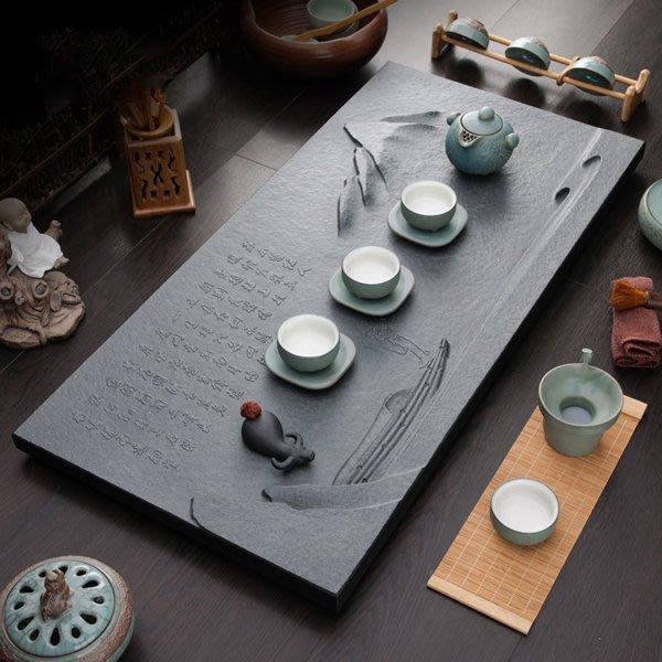 5Cgo【茗道】含稅會員有優惠   45647140347 整塊烏金石雕刻石茶盤高端立體浮雕石茶台石茶具家用60*30