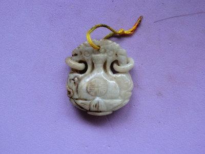 緬甸玉雕:粉淡綠.雙耳寶瓶