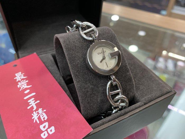 ☆最愛二手精品☆ GUCCI 銀色圓型錶面經典吊飾手鍊錶手錶石英錶 B7855
