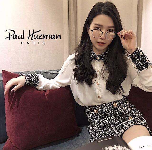 Paul Hueman 韓國熱銷品牌 英倫復古黑色石紋金屬細眉框設計 文青圓形眼鏡 金色細腳PHF196D 196