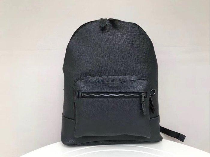 COACH 23247 新款男士雙肩包 全素色顆粒紋牛皮後背包 雙隔層 大容量