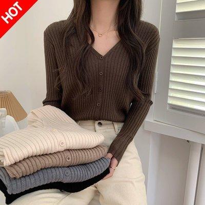 Fabgirls女裝春秋新款2021洋氣毛衣女寬松外穿顯瘦百搭V領打底衫性感針織開衫