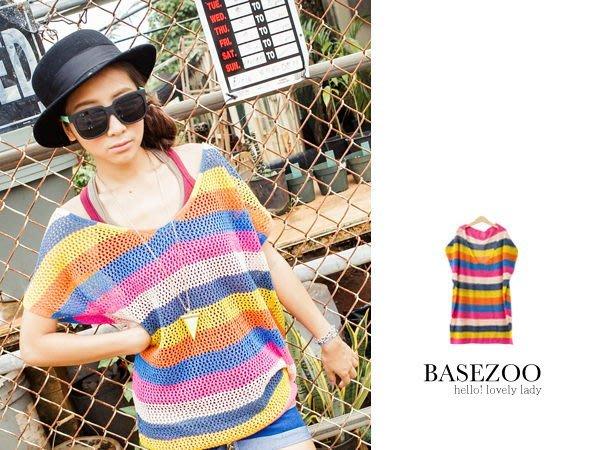 轉賣BASEZOO貝斯奇 全新彩色條紋洞洞長版寬鬆針織衫