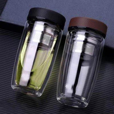 【雙層隔熱隨手保溫玻璃杯-380ml+杯刷+杯套-1套/組】防爆便攜水杯泡茶杯過濾杯-7201010