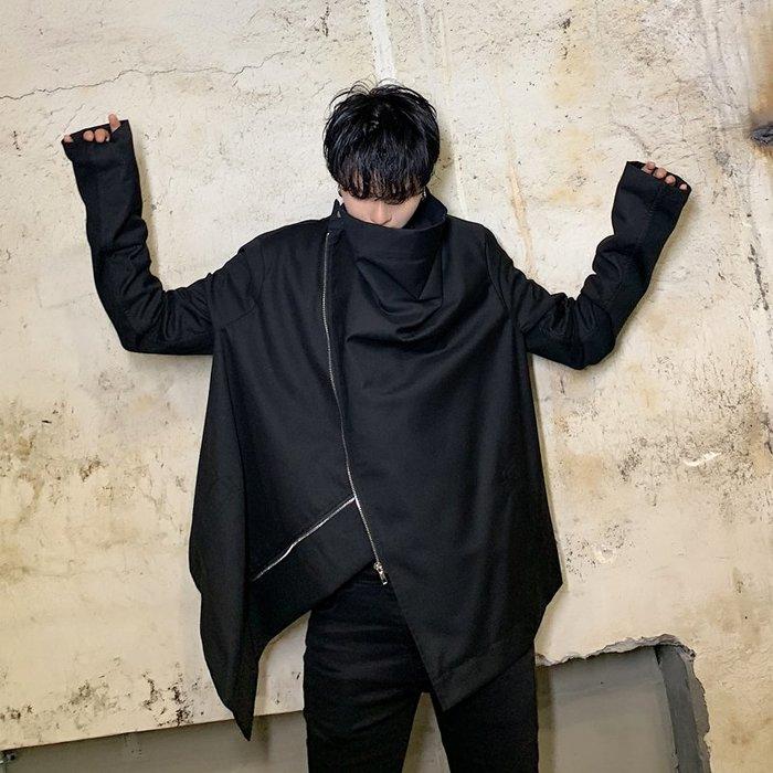 FINDSENSE 2019 秋冬上新 G19  黑色先鋒日系街頭個性拉鍊夾克外套男裝百搭寬鬆休閒外套