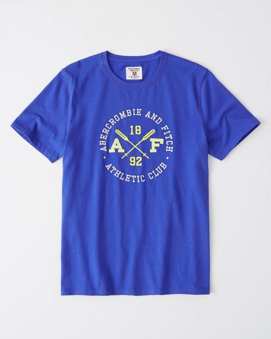 Maple麋鹿小舖 Abercrombie&Fitch * AF  寶藍色電繡字母短T * ( 現貨M/L號 )