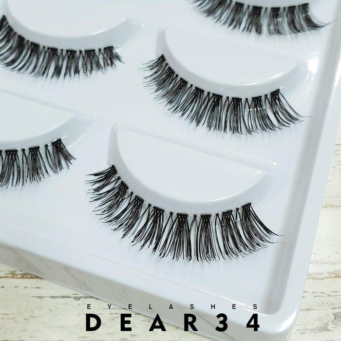 《Dear34》PR13透明梗眼尾加長自然交叉小濃密純手工編織假睫毛一盒五對入