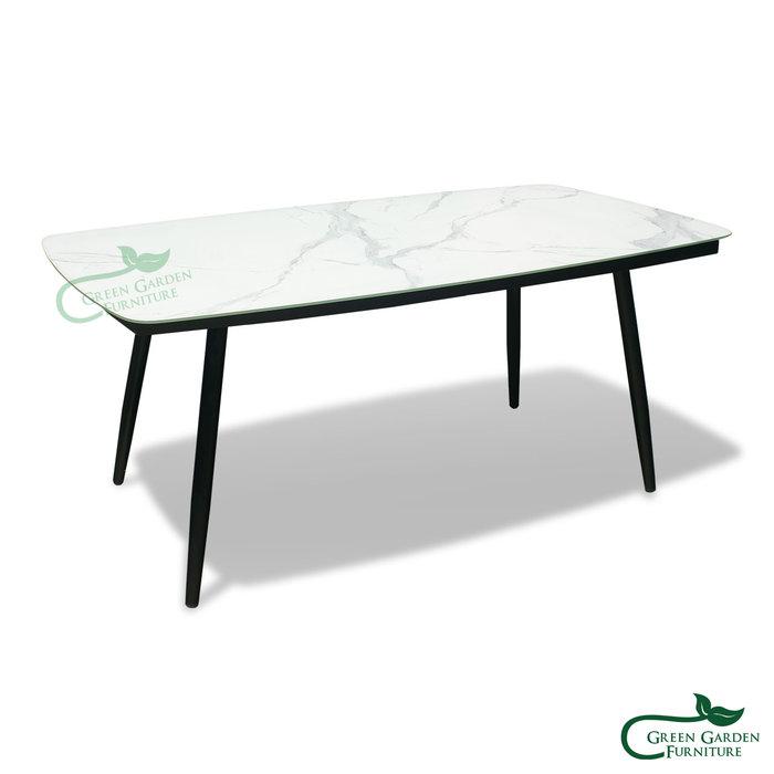 皇冠 餐桌-180【大綠地家具】霧黑鋁合金骨架/彩釉玻璃材質桌面/金屬家具/戶外休閒餐桌