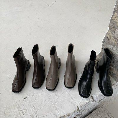 墨染·chicli 瘦瘦靴女高跟冬季加絨方頭粗跟黑色顯瘦顯高馬丁保暖短靴