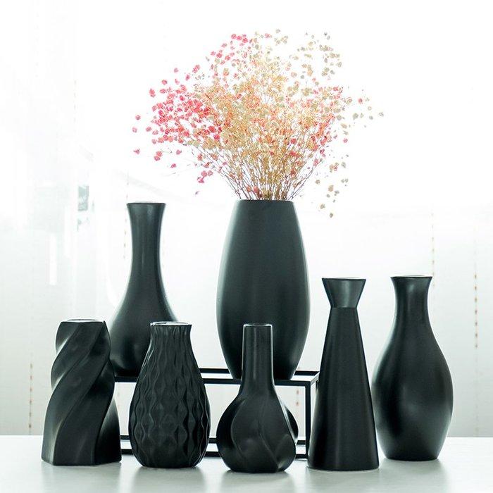 爆款簡約陶瓷黑色花瓶小清新干花插花客廳酒柜現代裝飾品家居花器擺件#簡約#陶瓷#小清新
