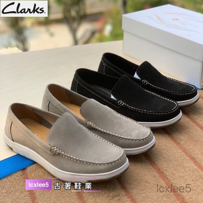 Clarks克拉克男鞋秋季真皮Edgewood Step休閒套腳男鞋防臭休閒懶人鞋駕車鞋39-44